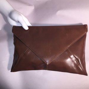 vintage auth BOTTEGA VENETA brown leather CLUTCH